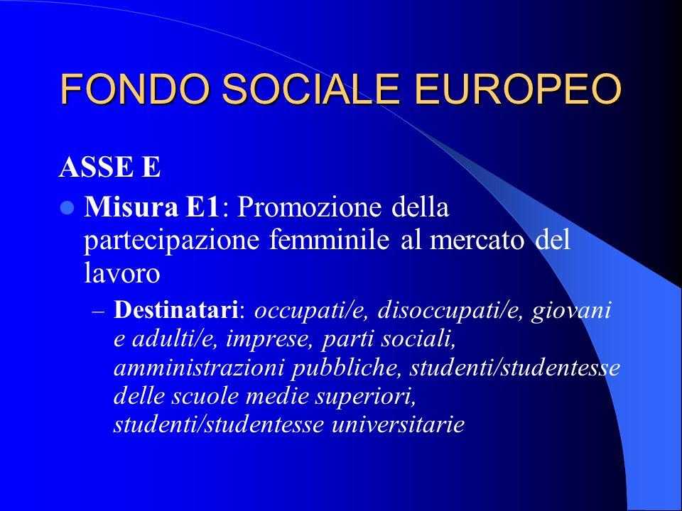 FONDO SOCIALE EUROPEO ASSE E Misura E1: Promozione della partecipazione femminile al mercato del lavoro – Destinatari: occupati/e, disoccupati/e, giov
