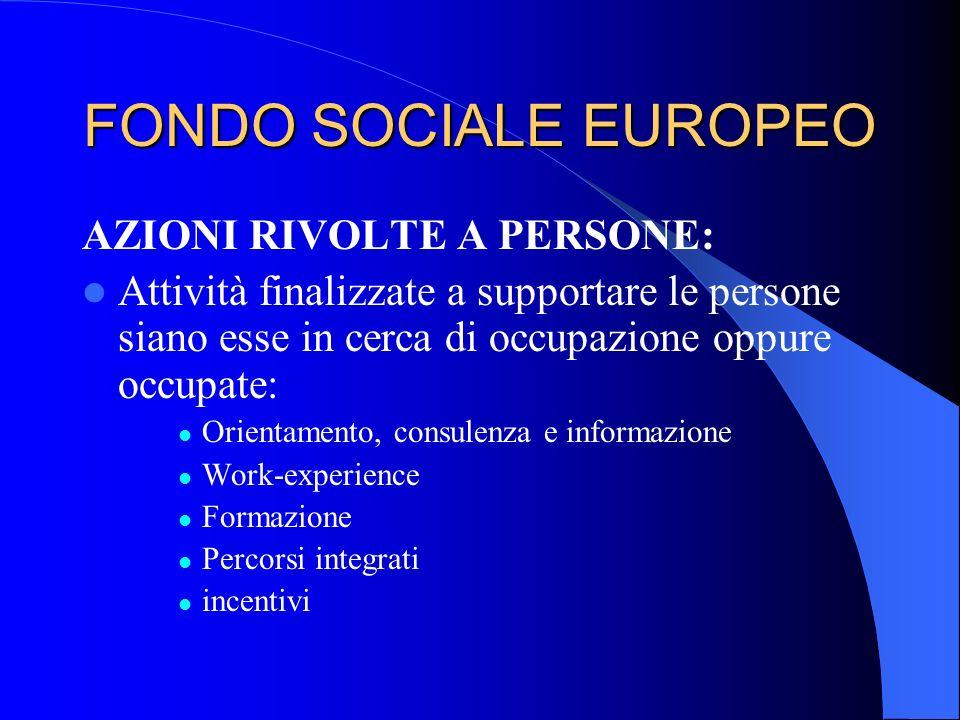 FONDO SOCIALE EUROPEO AZIONI RIVOLTE A PERSONE: Attività finalizzate a supportare le persone siano esse in cerca di occupazione oppure occupate: Orien