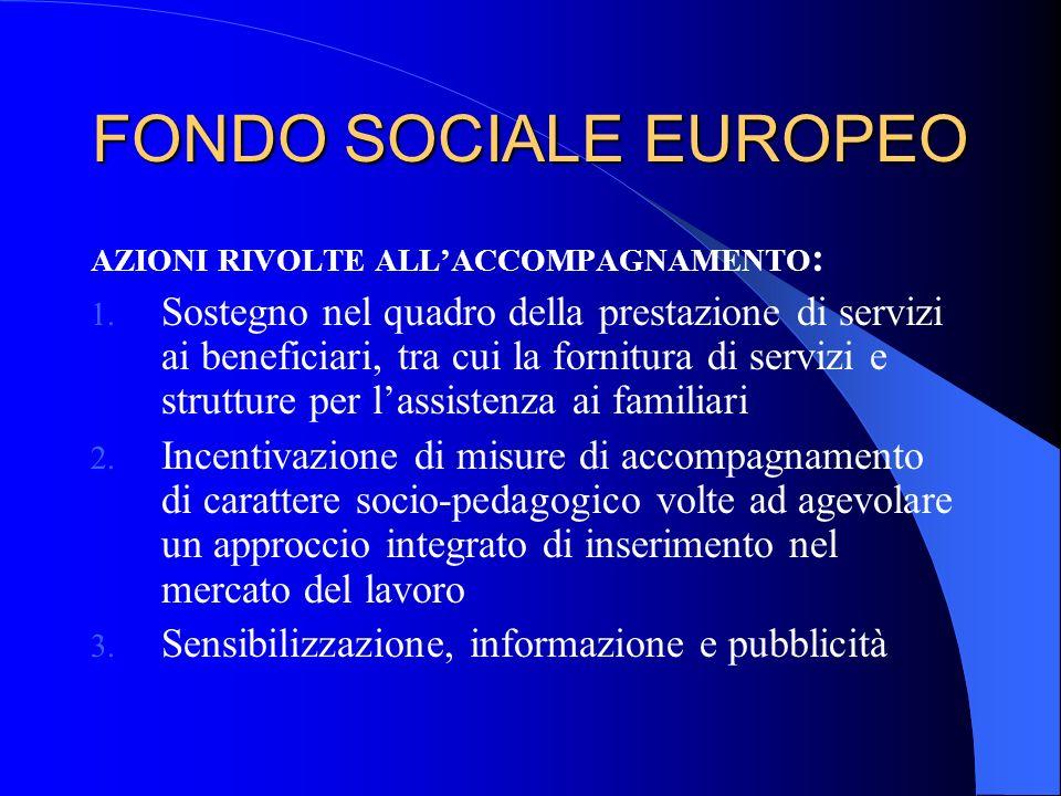 FONDO SOCIALE EUROPEO AZIONI RIVOLTE ALLACCOMPAGNAMENTO : 1. Sostegno nel quadro della prestazione di servizi ai beneficiari, tra cui la fornitura di