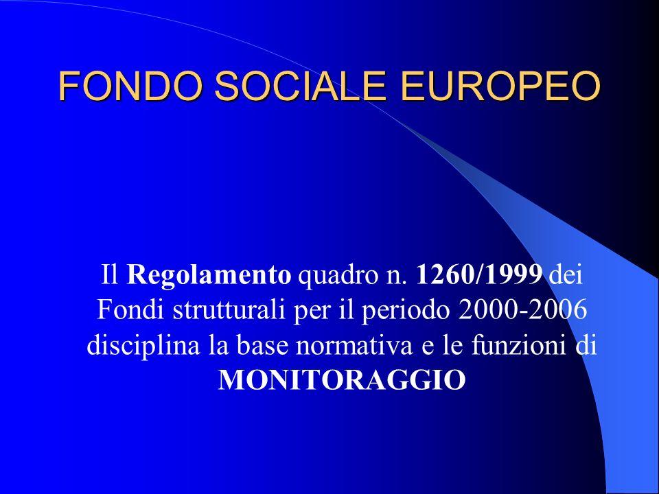 FONDO SOCIALE EUROPEO Il Regolamento quadro n. 1260/1999 dei Fondi strutturali per il periodo 2000-2006 disciplina la base normativa e le funzioni di