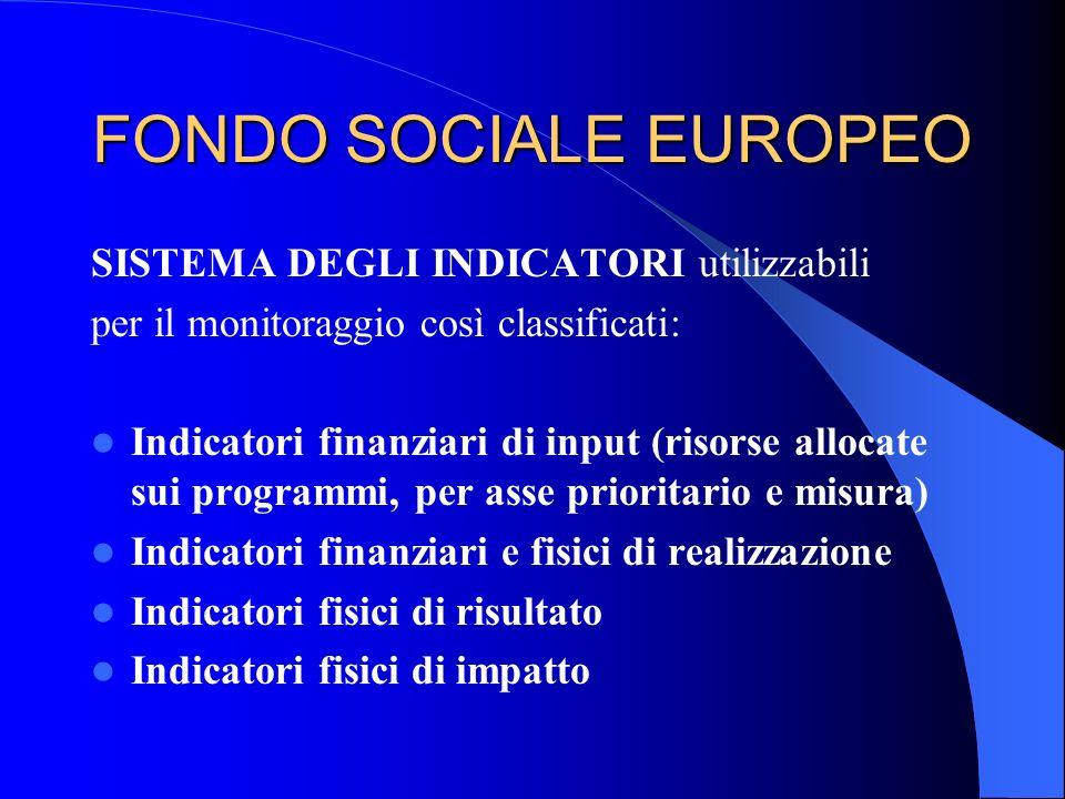 FONDO SOCIALE EUROPEO SISTEMA DEGLI INDICATORI utilizzabili per il monitoraggio così classificati: Indicatori finanziari di input (risorse allocate su