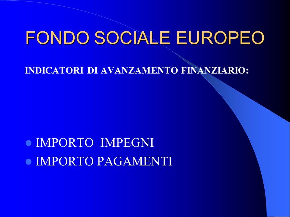 FONDO SOCIALE EUROPEO INDICATORI DI AVANZAMENTO FINANZIARIO: IMPORTO IMPEGNI IMPORTO PAGAMENTI