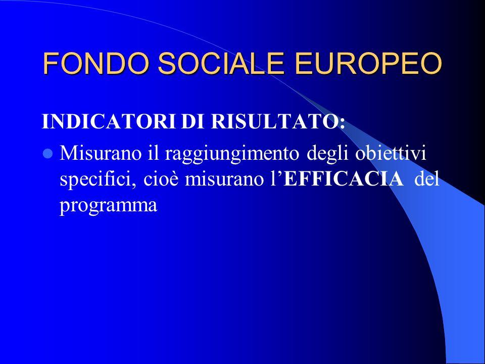 FONDO SOCIALE EUROPEO INDICATORI DI RISULTATO: Misurano il raggiungimento degli obiettivi specifici, cioè misurano lEFFICACIA del programma