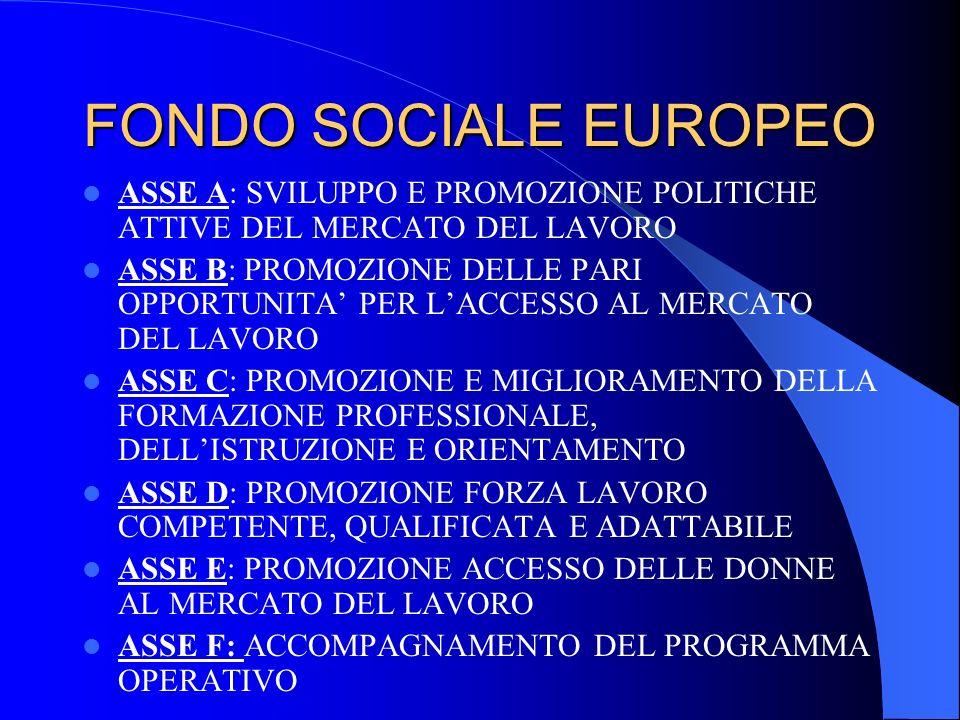 FONDO SOCIALE EUROPEO ASSE A: SVILUPPO E PROMOZIONE POLITICHE ATTIVE DEL MERCATO DEL LAVORO ASSE B: PROMOZIONE DELLE PARI OPPORTUNITA PER LACCESSO AL