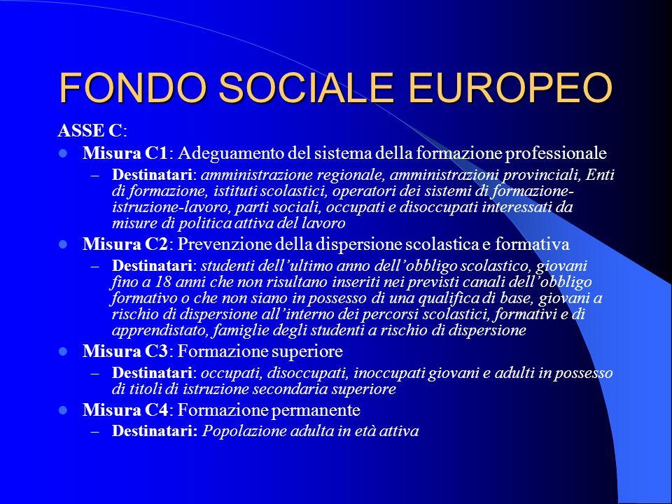 FONDO SOCIALE EUROPEO ASSE C: Misura C1: Adeguamento del sistema della formazione professionale – Destinatari: amministrazione regionale, amministrazi