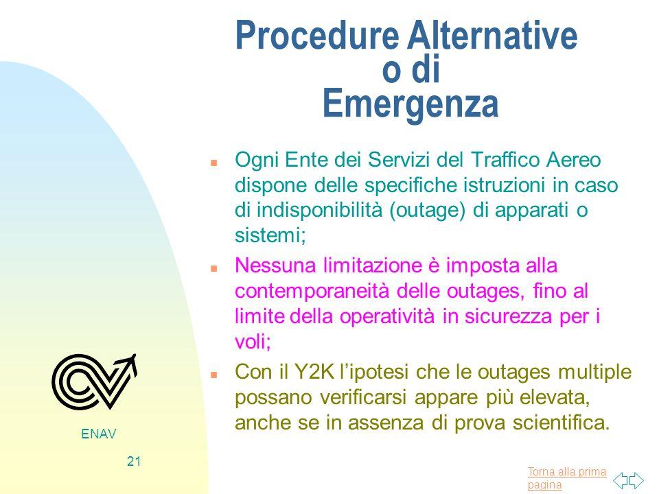 Torna alla prima pagina ENAV 21 Procedure Alternative o di Emergenza n Ogni Ente dei Servizi del Traffico Aereo dispone delle specifiche istruzioni in