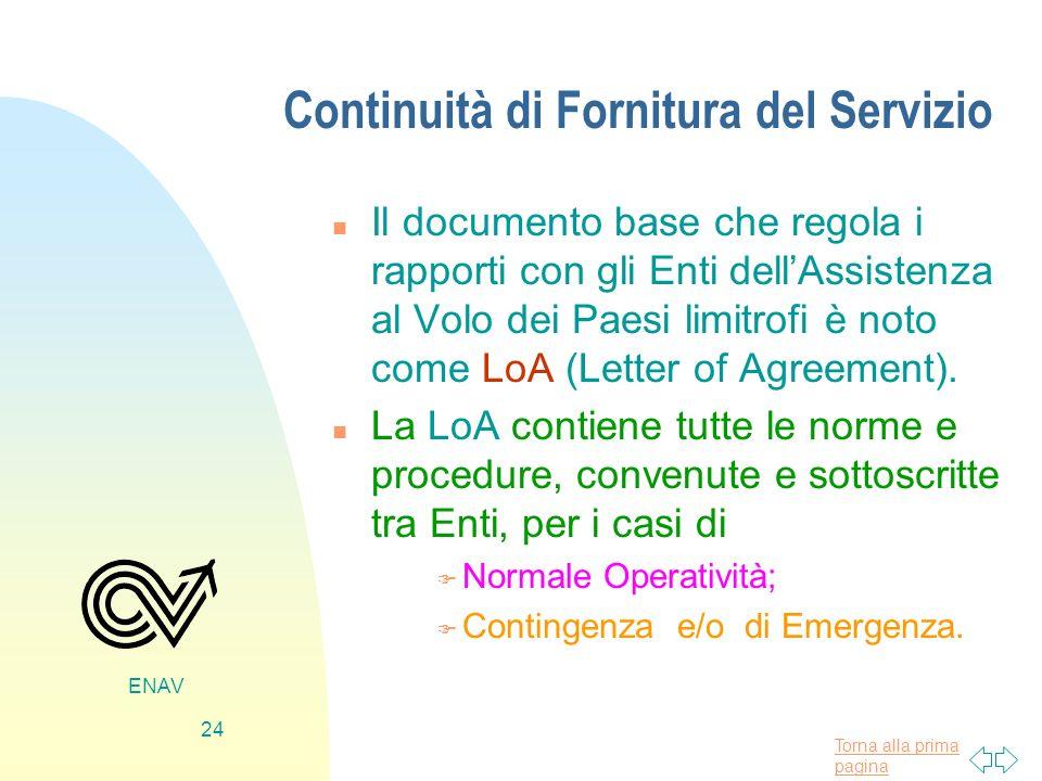Torna alla prima pagina ENAV 24 Continuità di Fornitura del Servizio n Il documento base che regola i rapporti con gli Enti dellAssistenza al Volo dei