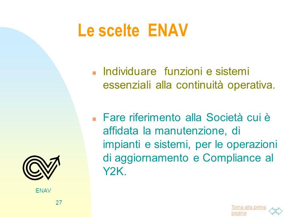 Torna alla prima pagina ENAV 27 Le scelte ENAV n Individuare funzioni e sistemi essenziali alla continuità operativa. n Fare riferimento alla Società