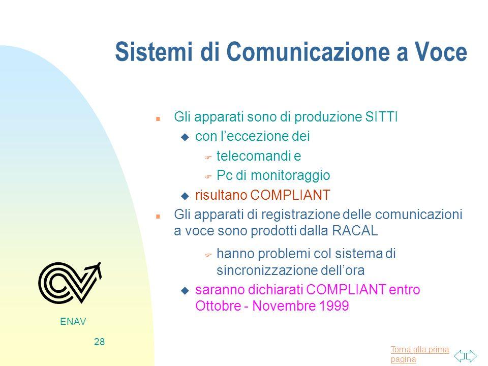 Torna alla prima pagina ENAV 28 Sistemi di Comunicazione a Voce n Gli apparati sono di produzione SITTI u con leccezione dei F telecomandi e F Pc di m