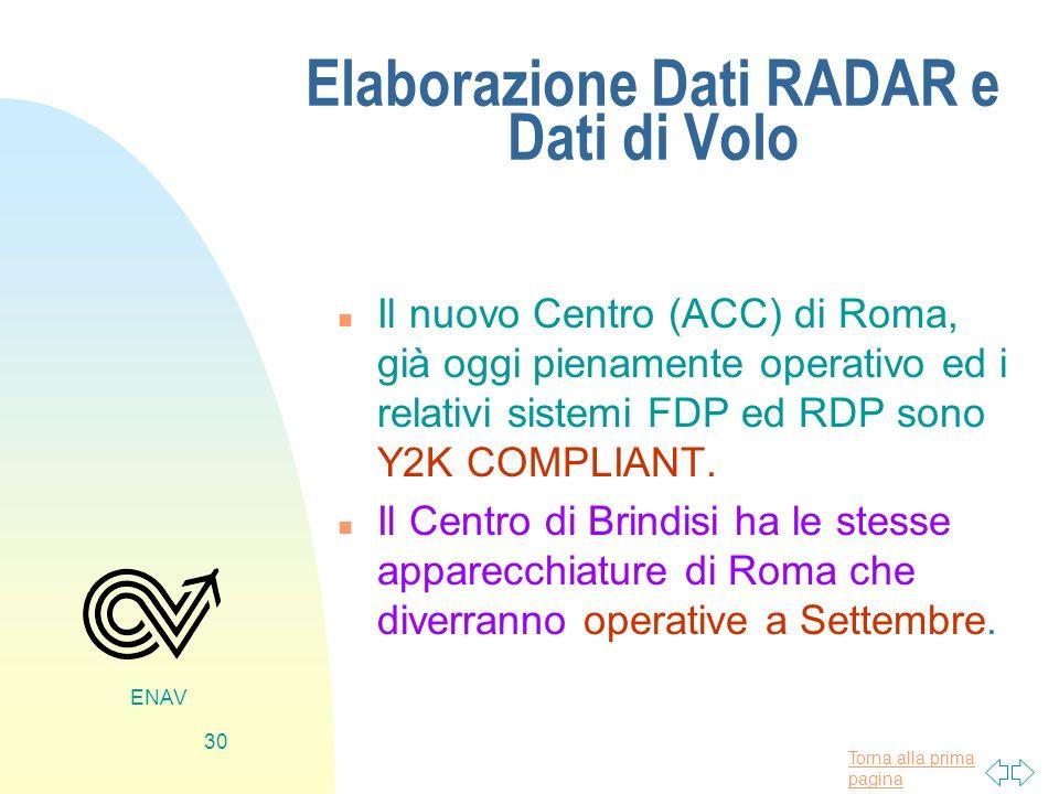 Torna alla prima pagina ENAV 30 Elaborazione Dati RADAR e Dati di Volo n Il nuovo Centro (ACC) di Roma, già oggi pienamente operativo ed i relativi si