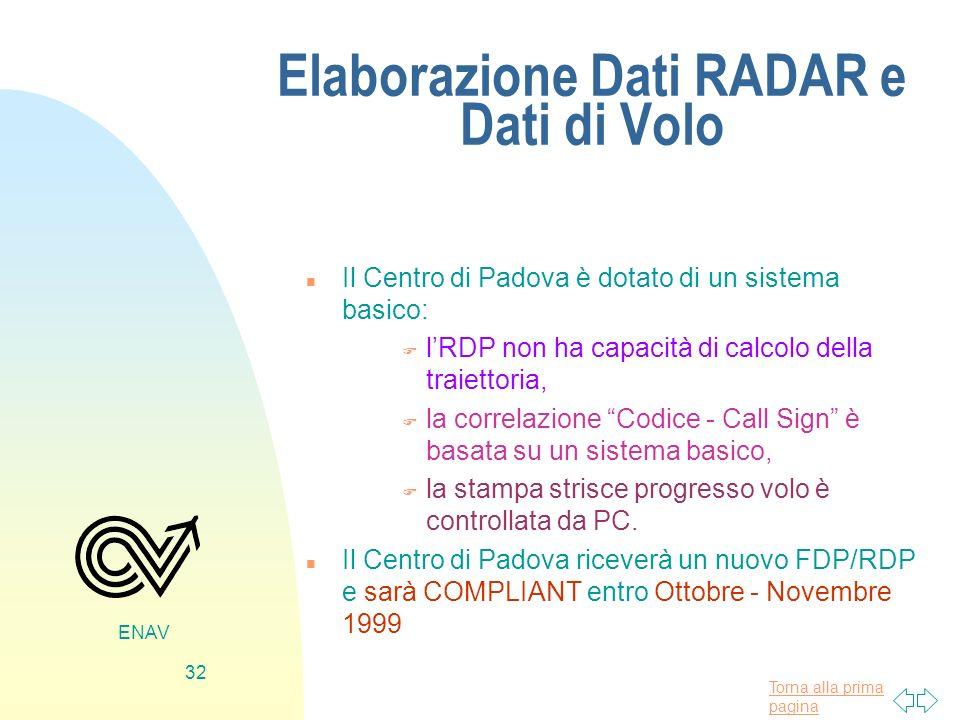 Torna alla prima pagina ENAV 32 Elaborazione Dati RADAR e Dati di Volo n Il Centro di Padova è dotato di un sistema basico: F lRDP non ha capacità di