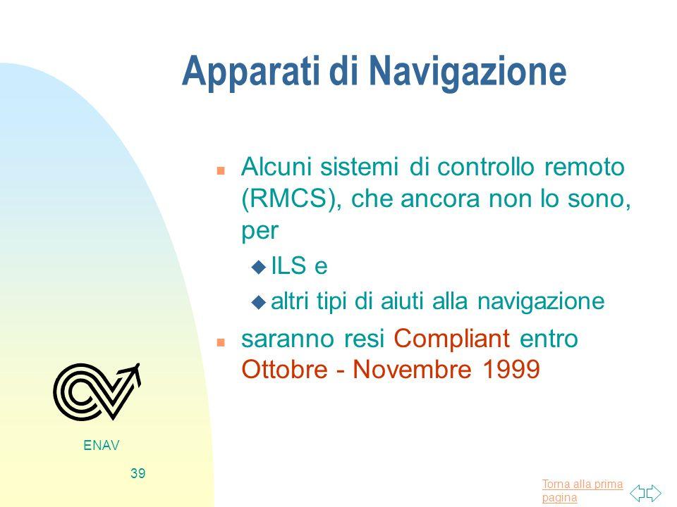 Torna alla prima pagina ENAV 39 Apparati di Navigazione n Alcuni sistemi di controllo remoto (RMCS), che ancora non lo sono, per u ILS e u altri tipi