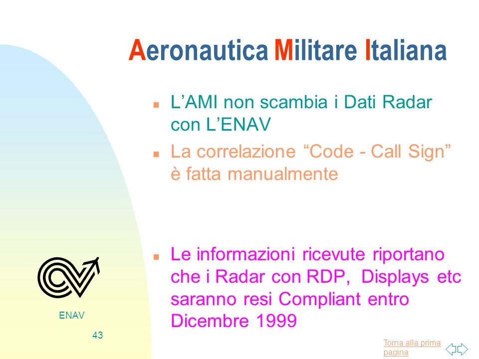 Torna alla prima pagina ENAV 43 Aeronautica Militare Italiana n LAMI non scambia i Dati Radar con LENAV n La correlazione Code - Call Sign è fatta man
