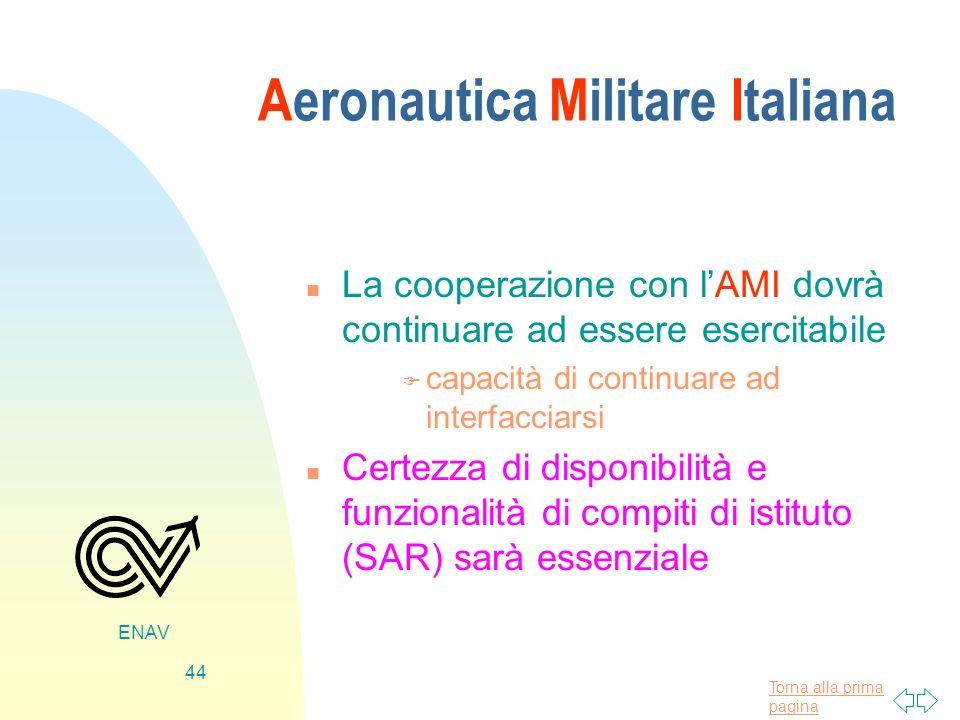 Torna alla prima pagina ENAV 44 Aeronautica Militare Italiana n La cooperazione con lAMI dovrà continuare ad essere esercitabile F capacità di continu