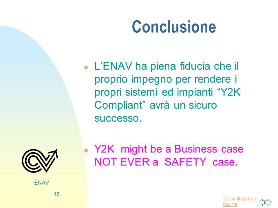 Torna alla prima pagina ENAV 45 Conclusione n LENAV ha piena fiducia che il proprio impegno per rendere i propri sistemi ed impianti Y2K Compliant avr