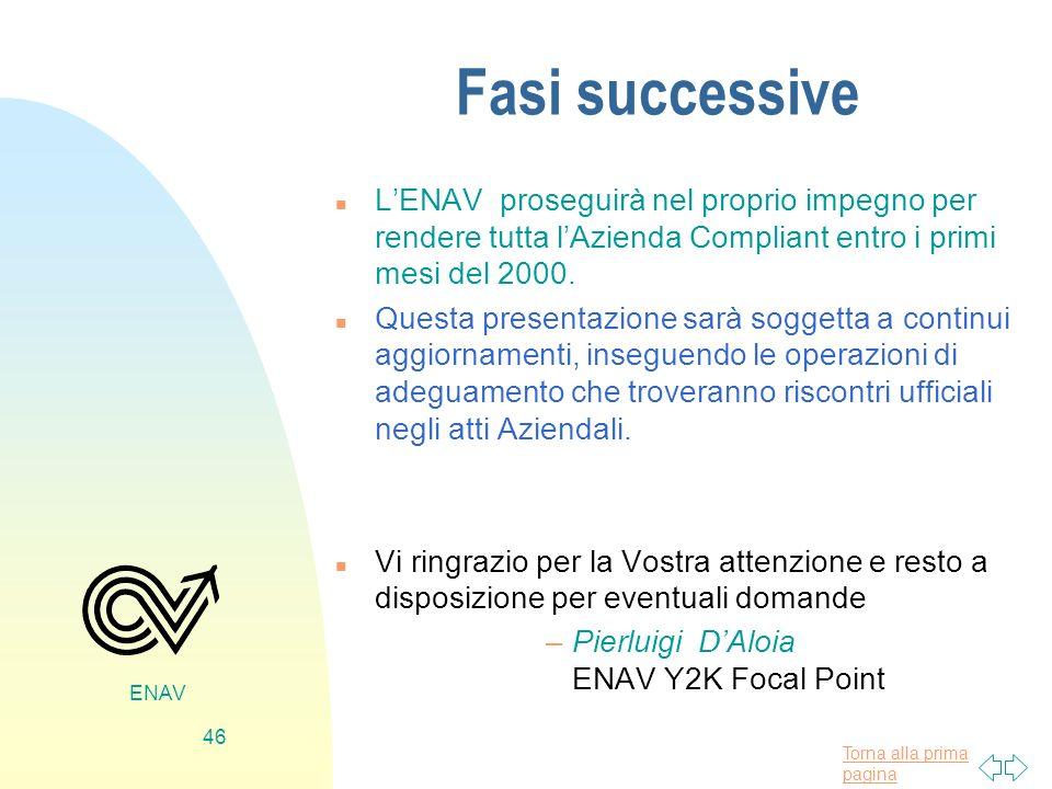 Torna alla prima pagina ENAV 46 Fasi successive n LENAV proseguirà nel proprio impegno per rendere tutta lAzienda Compliant entro i primi mesi del 200