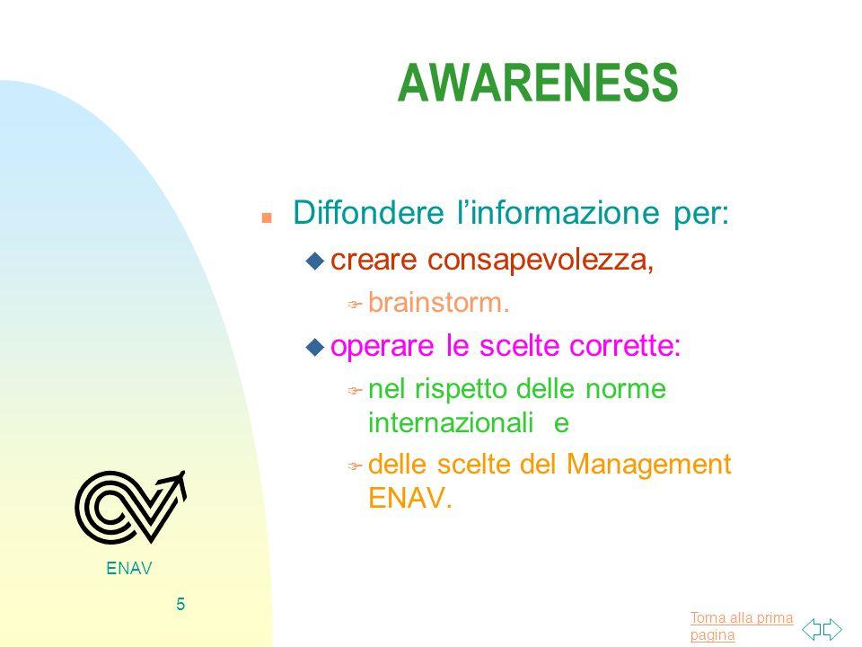 Torna alla prima pagina ENAV 5 AWARENESS n Diffondere linformazione per: u creare consapevolezza, F brainstorm. u operare le scelte corrette: F nel ri