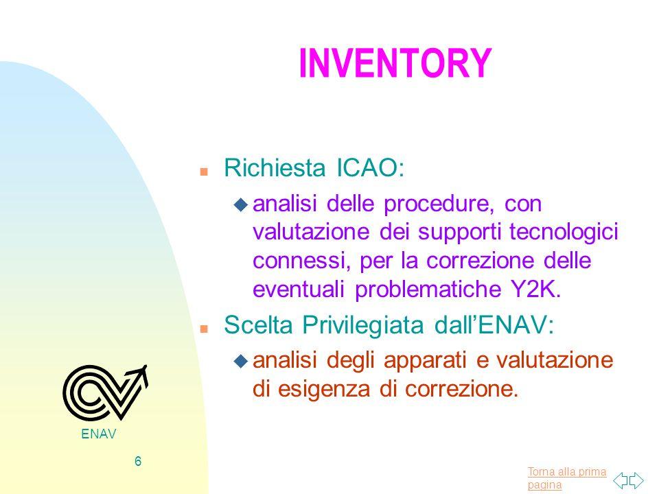 Torna alla prima pagina ENAV 6 INVENTORY n Richiesta ICAO: u analisi delle procedure, con valutazione dei supporti tecnologici connessi, per la correz