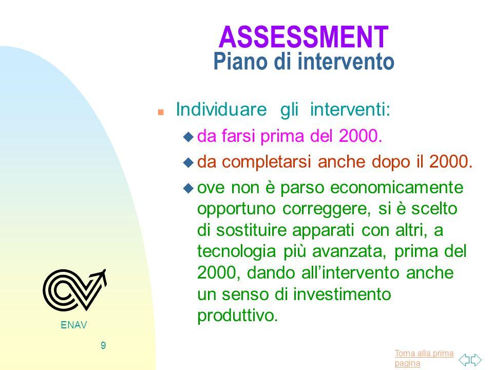 Torna alla prima pagina ENAV 9 ASSESSMENT Piano di intervento n Individuare gli interventi: u da farsi prima del 2000. u da completarsi anche dopo il
