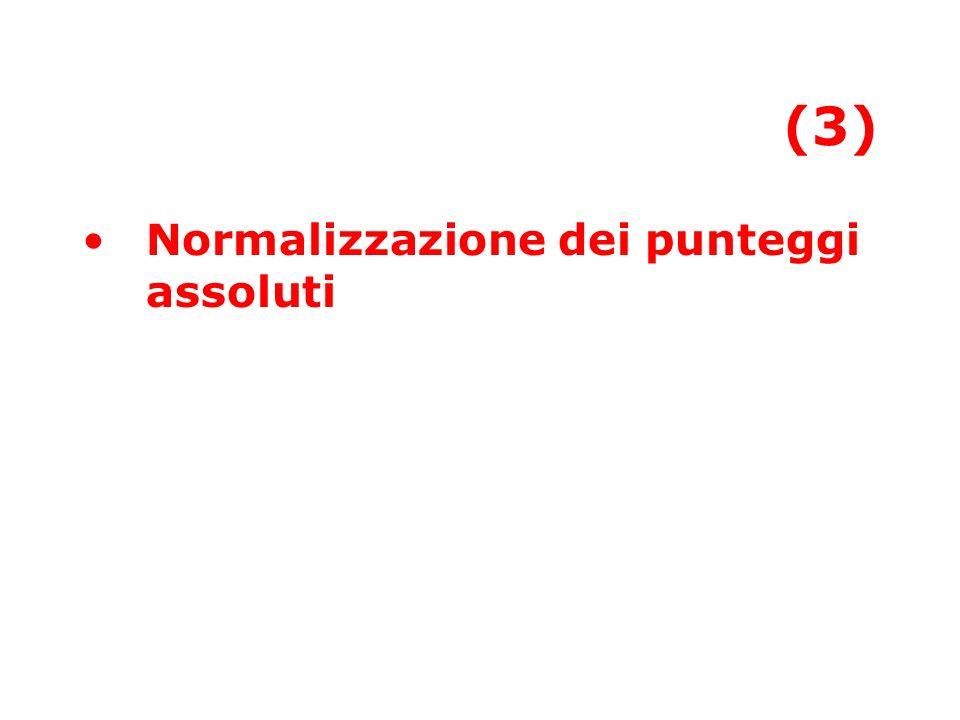 (3) Normalizzazione dei punteggi assoluti
