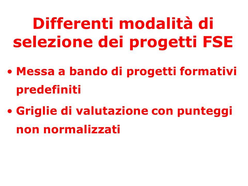 Differenti modalità di selezione dei progetti FSE Messa a bando di progetti formativi predefiniti Griglie di valutazione con punteggi non normalizzati