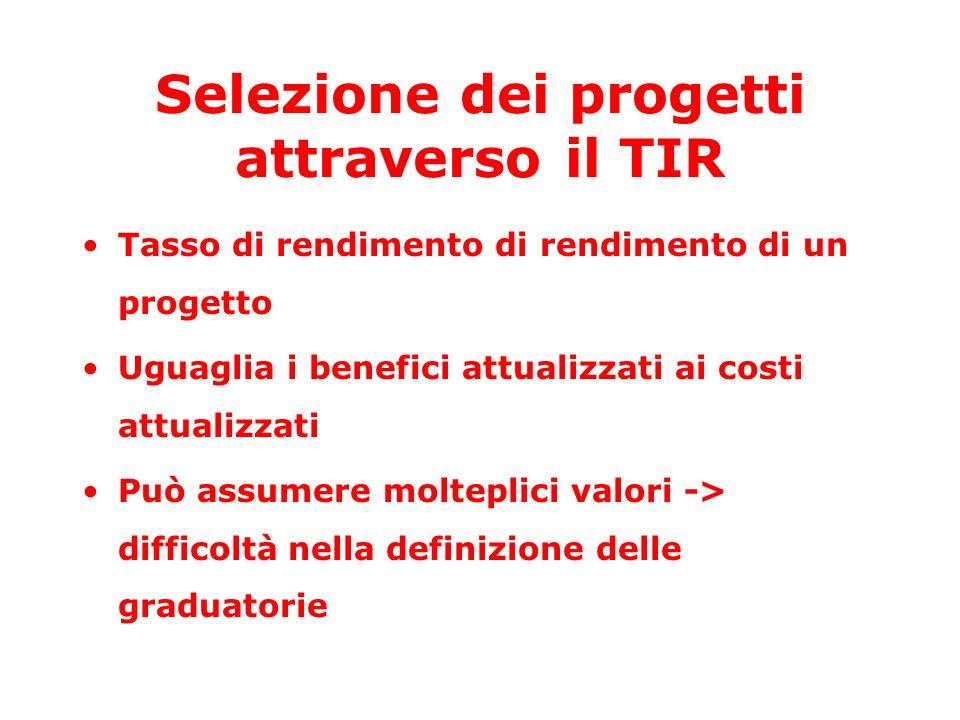 Selezione dei progetti attraverso il TIR Tasso di rendimento di rendimento di un progetto Uguaglia i benefici attualizzati ai costi attualizzati Può assumere molteplici valori -> difficoltà nella definizione delle graduatorie