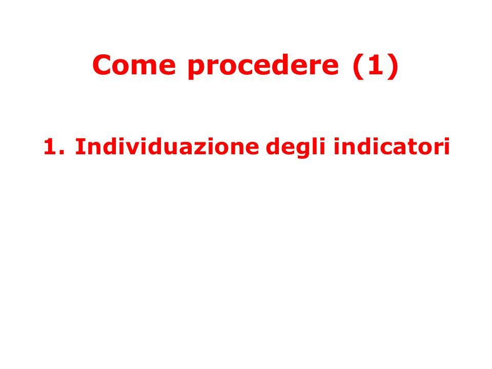 Come procedere (1) 1.Individuazione degli indicatori
