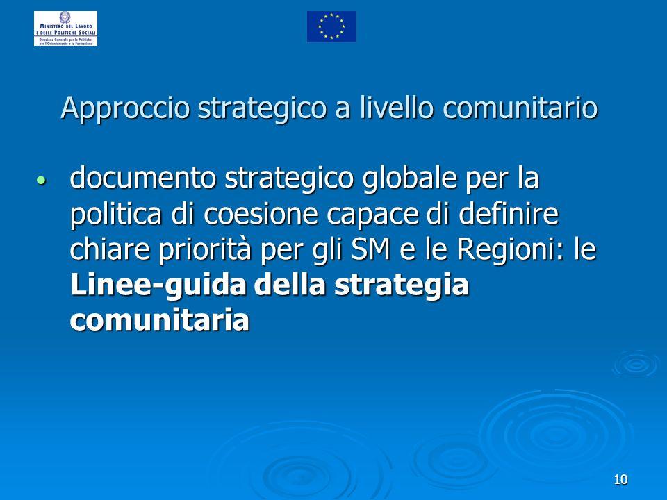 10 Approccio strategico a livello comunitario documento strategico globale per la politica di coesione capace di definire chiare priorità per gli SM e