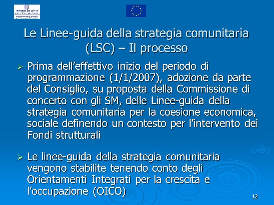 12 Le Linee-guida della strategia comunitaria (LSC) – Il processo Prima delleffettivo inizio del periodo di programmazione (1/1/2007), adozione da par