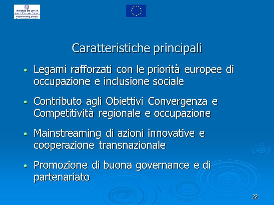 22 Caratteristiche principali Legami rafforzati con le priorità europee di occupazione e inclusione sociale Legami rafforzati con le priorità europee