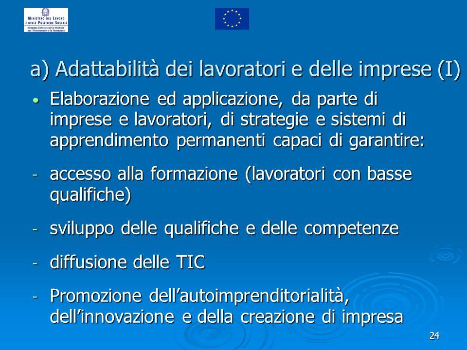 24 a) Adattabilità dei lavoratori e delle imprese (I) Elaborazione ed applicazione, da parte di imprese e lavoratori, di strategie e sistemi di appren