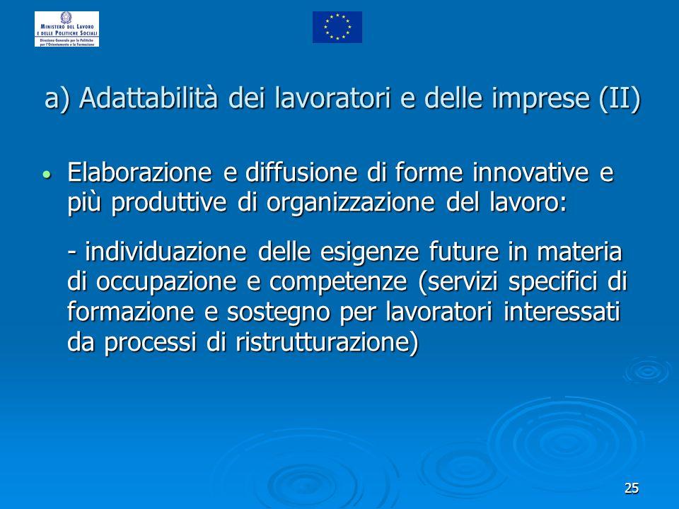25 a) Adattabilità dei lavoratori e delle imprese (II) Elaborazione e diffusione di forme innovative e più produttive di organizzazione del lavoro: El