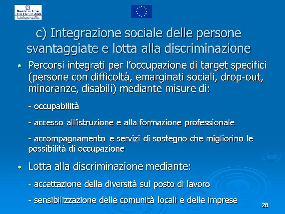28 Percorsi integrati per loccupazione di target specifici (persone con difficoltà, emarginati sociali, drop-out, minoranze, disabili) mediante misure