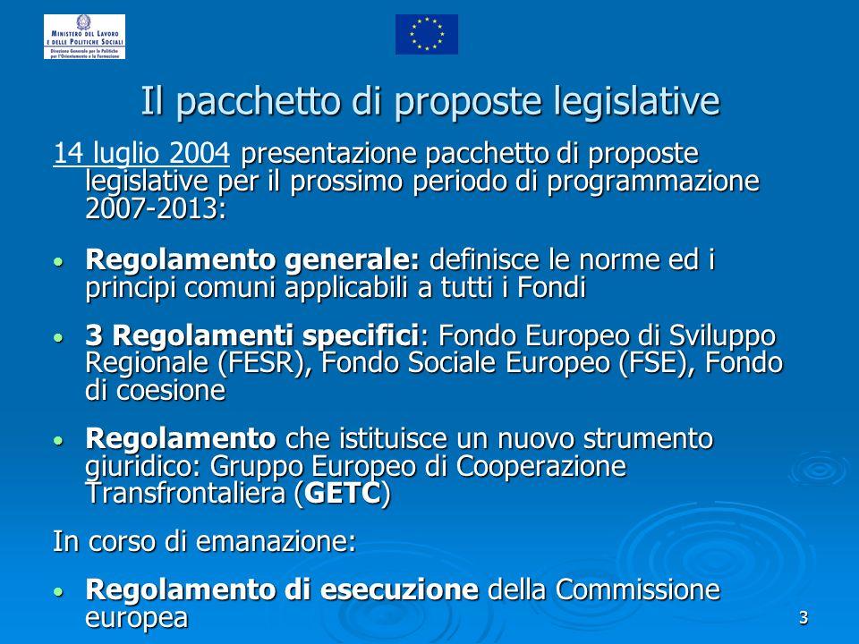 3 Il pacchetto di proposte legislative presentazione pacchetto di proposte legislative per il prossimo periodo di programmazione 2007-2013: 14 luglio
