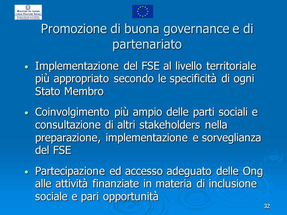 32 Promozione di buona governance e di partenariato Implementazione del FSE al livello territoriale più appropriato secondo le specificità di ogni Sta