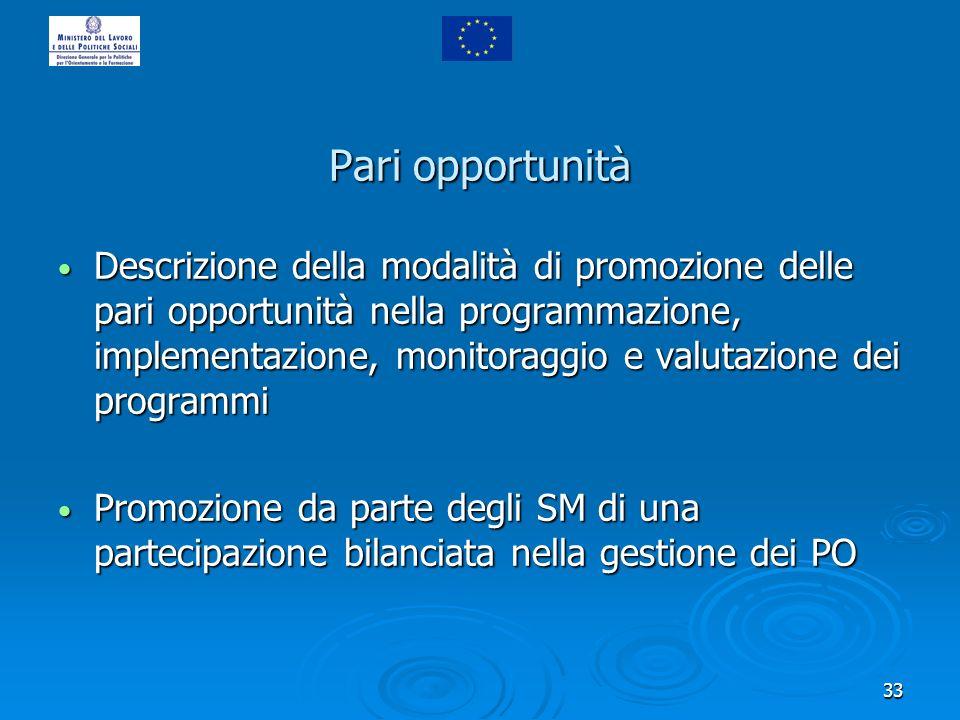 33 Pari opportunità Descrizione della modalità di promozione delle pari opportunità nella programmazione, implementazione, monitoraggio e valutazione
