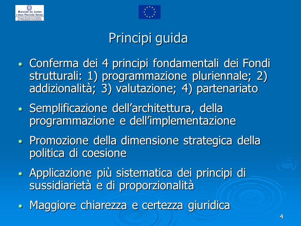 4 Principi guida Conferma dei 4 principi fondamentali dei Fondi strutturali: 1) programmazione pluriennale; 2) addizionalità; 3) valutazione; 4) parte
