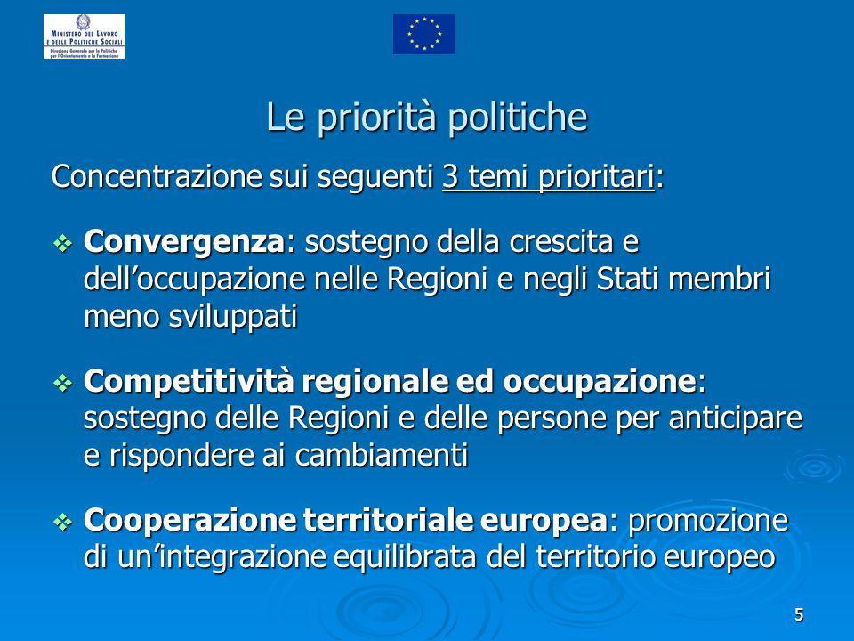 5 Le priorità politiche Concentrazione sui seguenti 3 temi prioritari: Convergenza: sostegno della crescita e delloccupazione nelle Regioni e negli St
