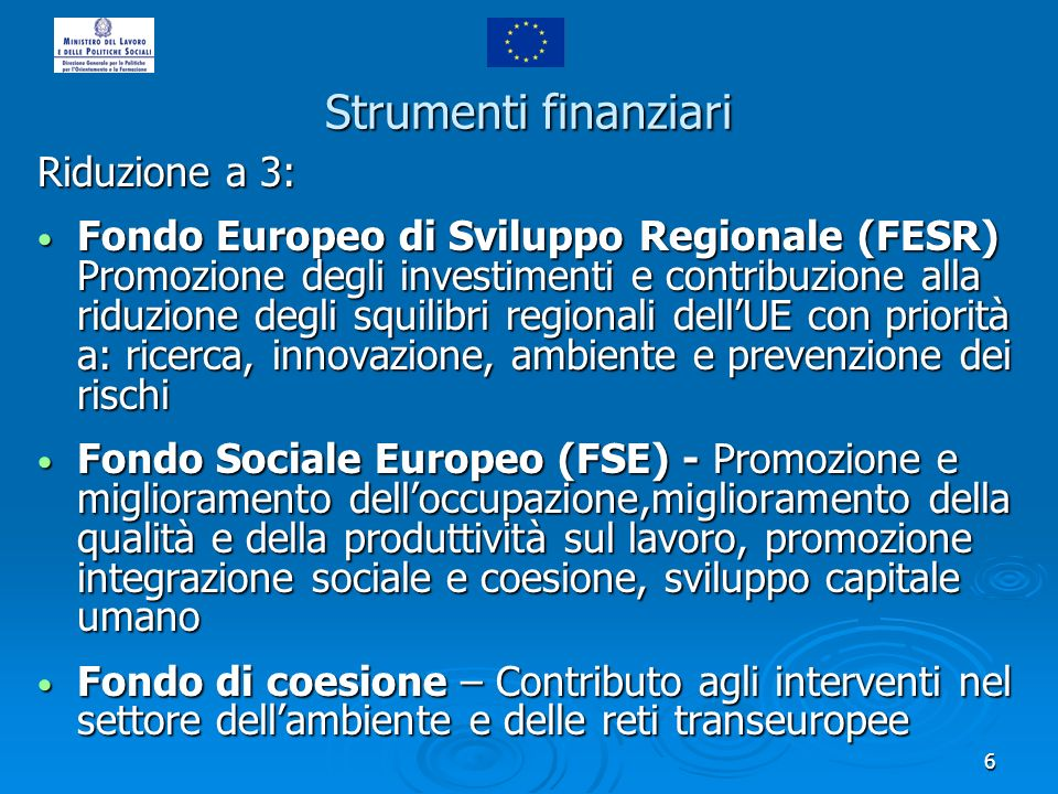 6 Strumenti finanziari Riduzione a 3: Fondo Europeo di Sviluppo Regionale (FESR) Promozione degli investimenti e contribuzione alla riduzione degli sq