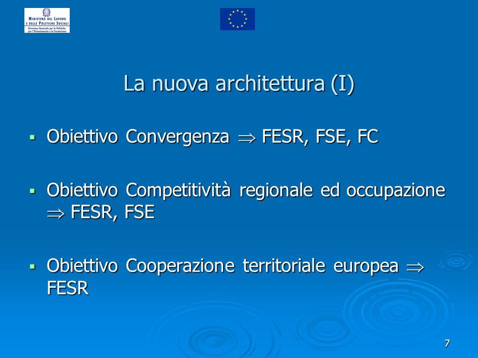 7 La nuova architettura (I) Obiettivo Convergenza FESR, FSE, FC Obiettivo Convergenza FESR, FSE, FC Obiettivo Competitività regionale ed occupazione F
