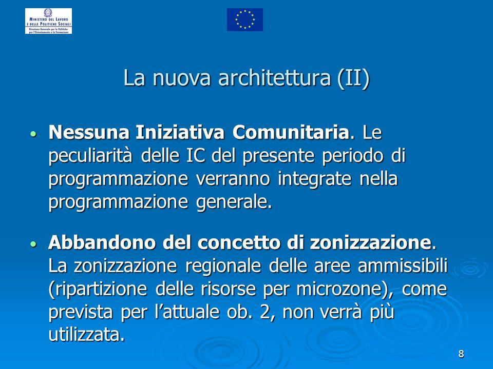 8 La nuova architettura (II) Nessuna Iniziativa Comunitaria. Le peculiarità delle IC del presente periodo di programmazione verranno integrate nella p