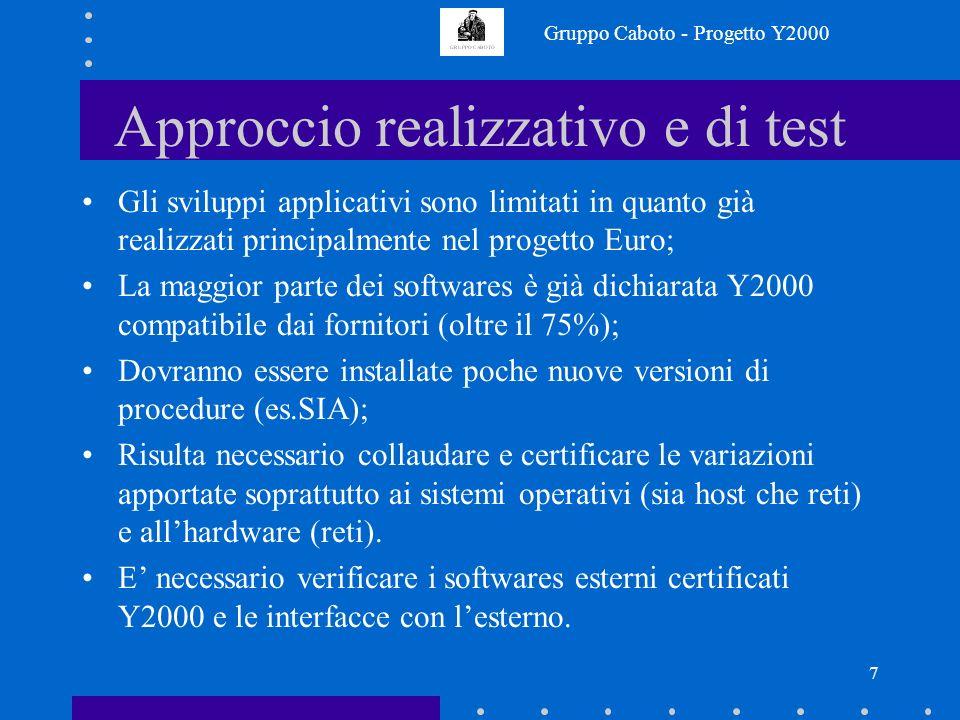 Gruppo Caboto - Progetto Y2000 7 Approccio realizzativo e di test Gli sviluppi applicativi sono limitati in quanto già realizzati principalmente nel progetto Euro; La maggior parte dei softwares è già dichiarata Y2000 compatibile dai fornitori (oltre il 75%); Dovranno essere installate poche nuove versioni di procedure (es.SIA); Risulta necessario collaudare e certificare le variazioni apportate soprattutto ai sistemi operativi (sia host che reti) e allhardware (reti).