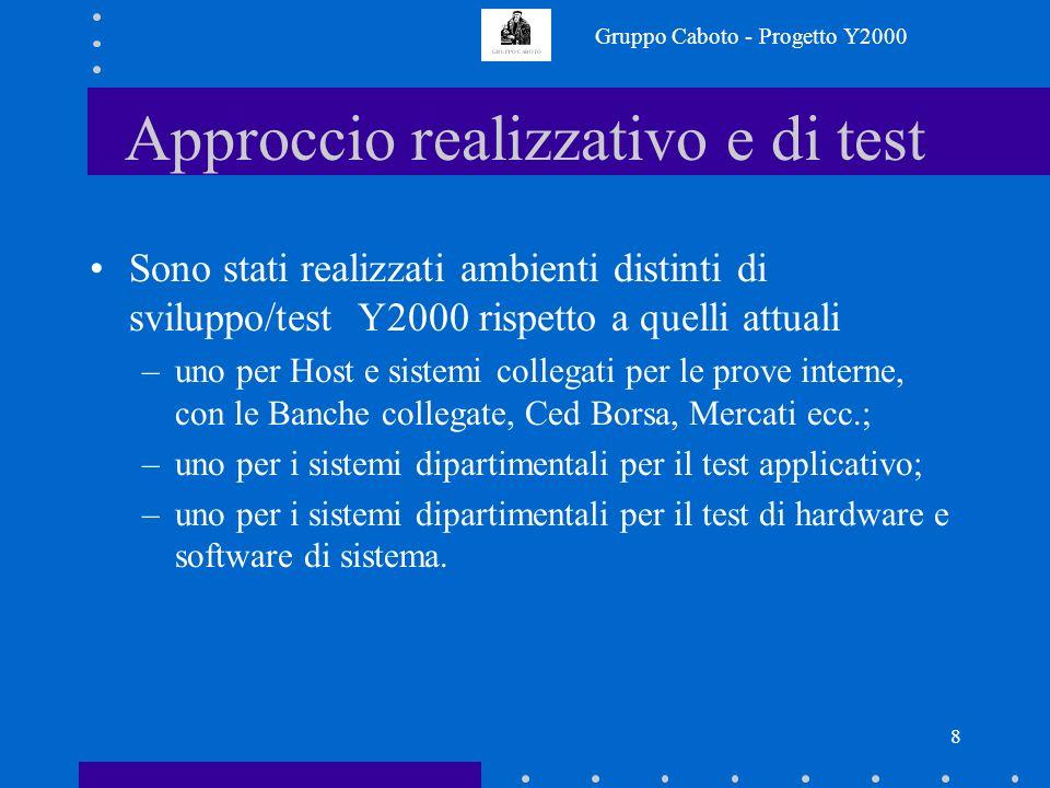Gruppo Caboto - Progetto Y2000 7 Approccio realizzativo e di test Gli sviluppi applicativi sono limitati in quanto già realizzati principalmente nel p
