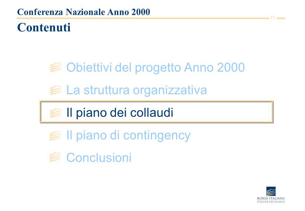 11 Contenuti Obiettivi del progetto Anno 2000 La struttura organizzativa Il piano dei collaudi Il piano di contingency Conclusioni Conferenza Nazionale Anno 2000