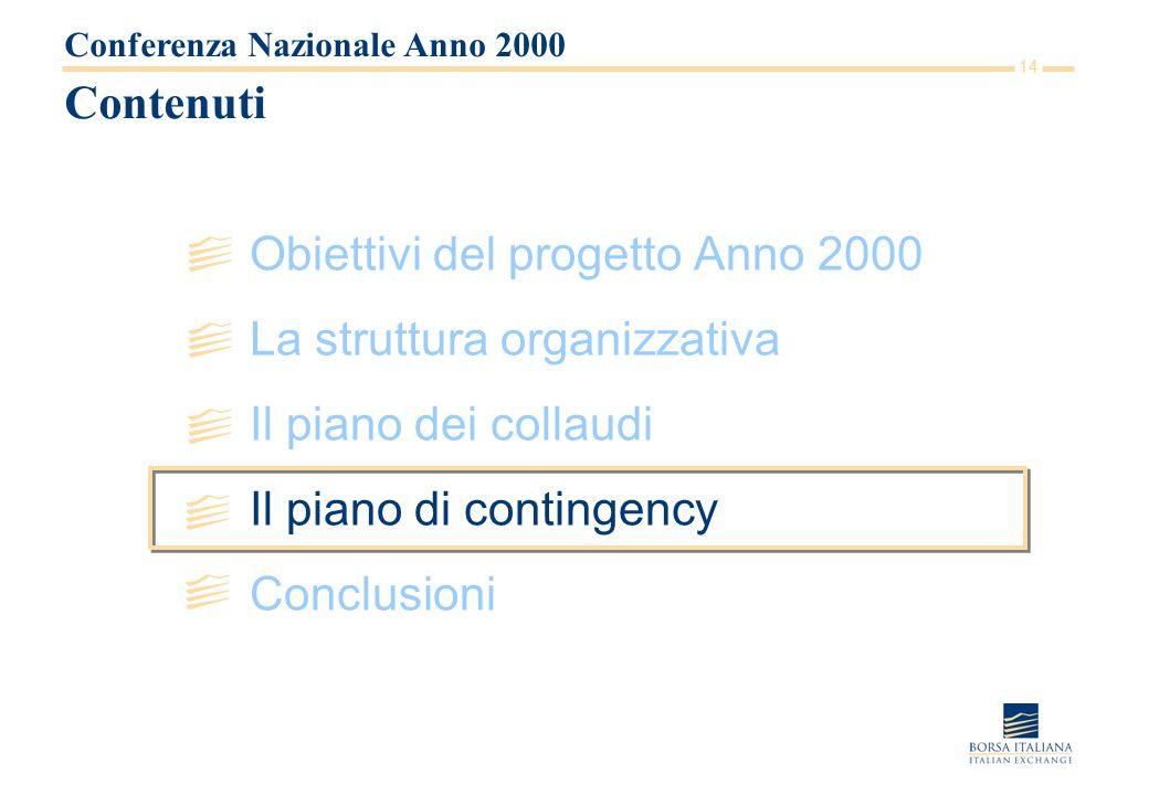 14 Contenuti Obiettivi del progetto Anno 2000 La struttura organizzativa Il piano dei collaudi Il piano di contingency Conclusioni Conferenza Nazional