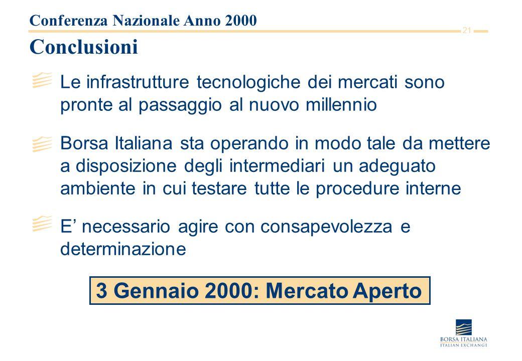 21 Conclusioni Le infrastrutture tecnologiche dei mercati sono pronte al passaggio al nuovo millennio Borsa Italiana sta operando in modo tale da mett