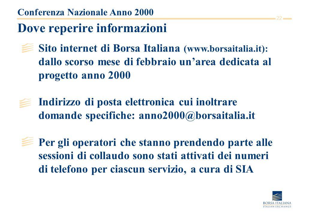 22 Dove reperire informazioni Conferenza Nazionale Anno 2000 Sito internet di Borsa Italiana (www.borsaitalia.it): dallo scorso mese di febbraio unare