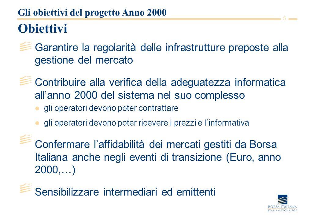 5 Obiettivi Garantire la regolarità delle infrastrutture preposte alla gestione del mercato Contribuire alla verifica della adeguatezza informatica al