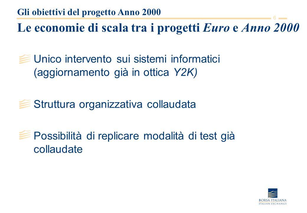 6 Le economie di scala tra i progetti Euro e Anno 2000 Unico intervento sui sistemi informatici (aggiornamento già in ottica Y2K) Struttura organizzativa collaudata Possibilità di replicare modalità di test già collaudate Gli obiettivi del progetto Anno 2000