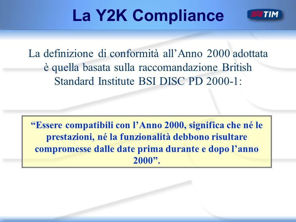 La Y2K Compliance La definizione di conformità allAnno 2000 adottata è quella basata sulla raccomandazione British Standard Institute BSI DISC PD 2000-1: Essere compatibili con lAnno 2000, significa che né le prestazioni, né la funzionalità debbono risultare compromesse dalle date prima durante e dopo lanno 2000.